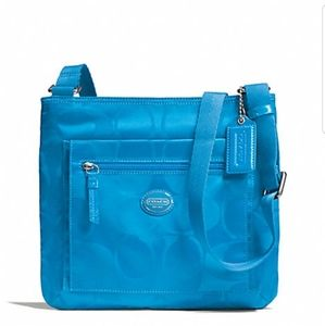Coach Getaway Signature Nylon File Bag Blue